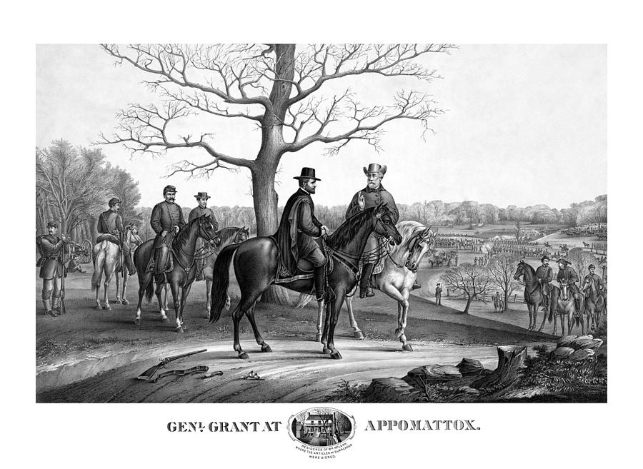 General Grant Mixed Media - Grant And Lee At Appomattox by War Is Hell Store