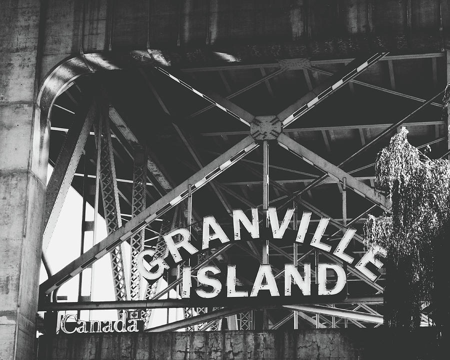 Granville Island Photograph - Granville Island Bridge Black and White- by Linda Woods by Linda Woods