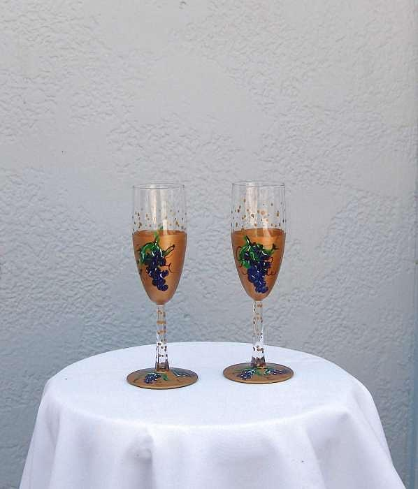 Glasses Glass Art - Grape Patterned Wine Glasses by Lois Niesen