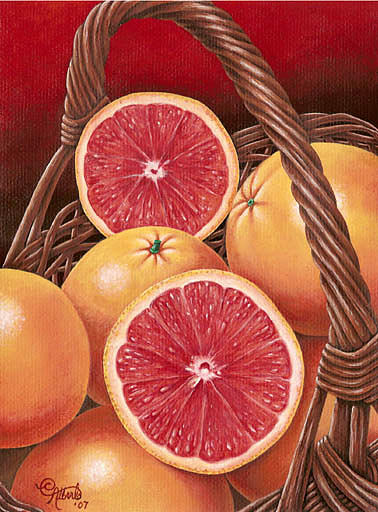 Grapefruits In A Basket Painting by Carlos Esquivel