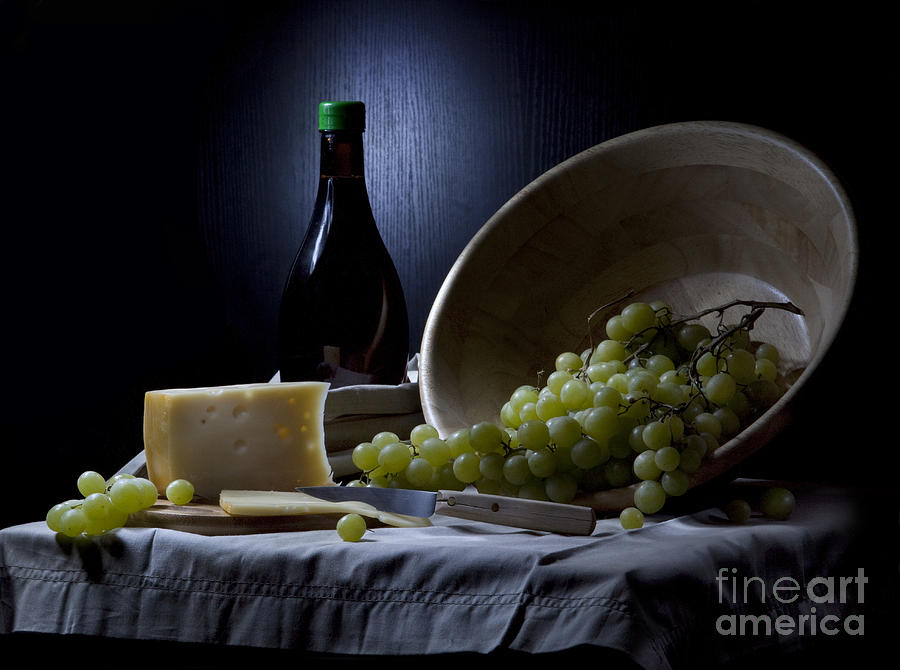 Still Life Photograph - Grapes And Cheese by Irina No