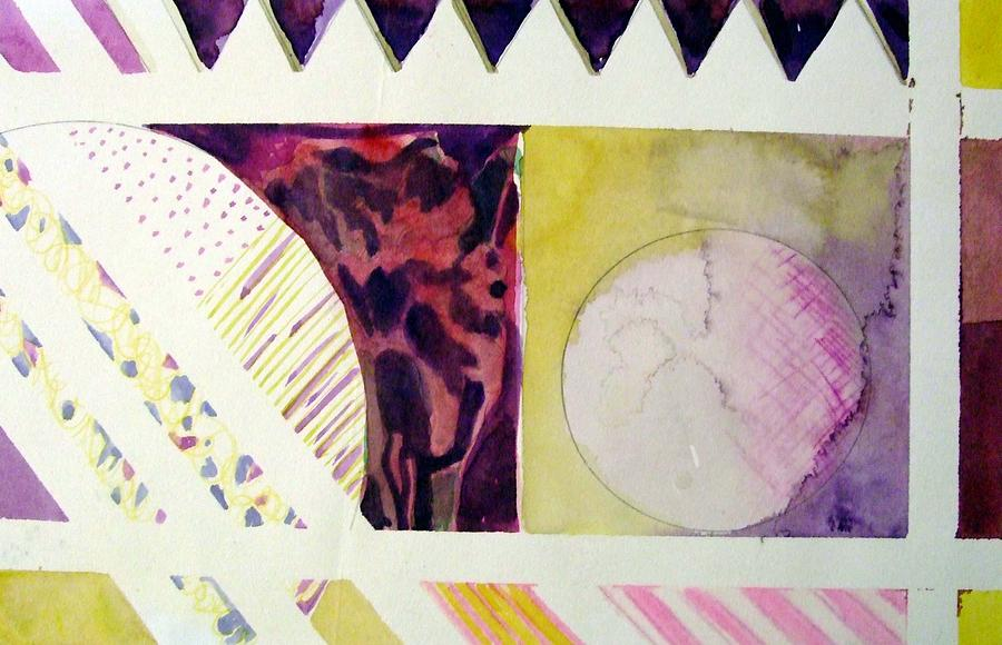 Abstract Painting - Grapes And Cheese Wedges by Mindy Newman