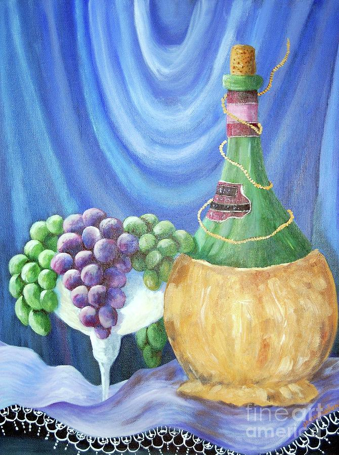 Grapes Painting - Grapes And Lace by Janna Columbus