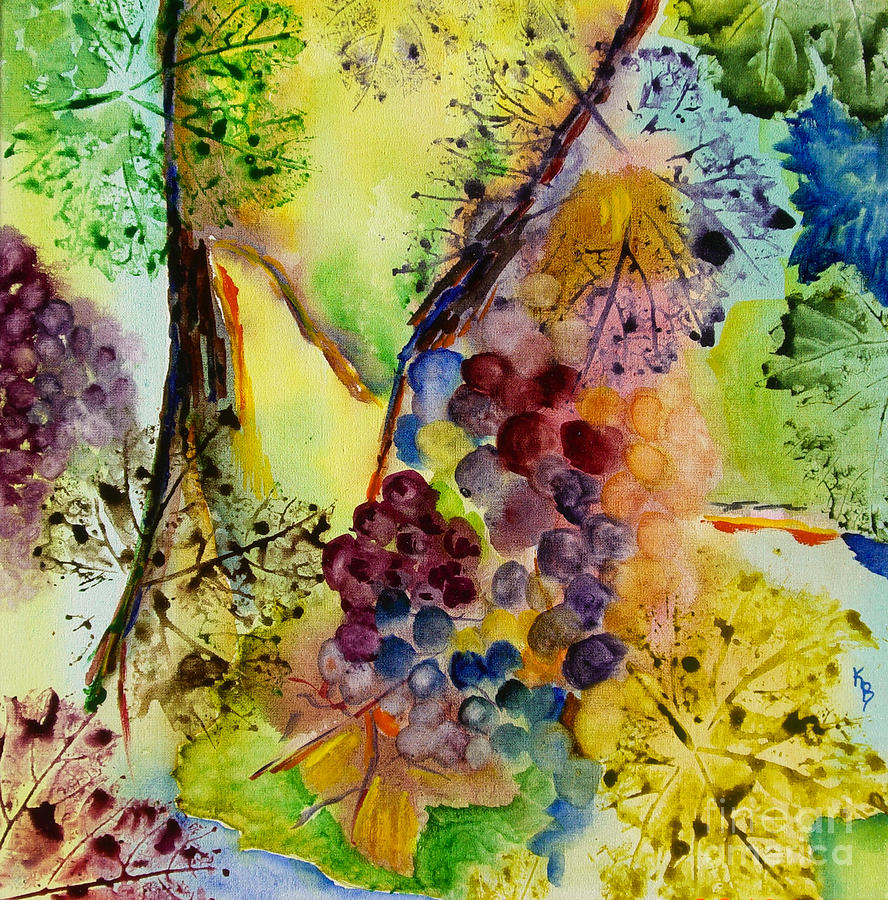 Watercolor Painting - Grapes And Leaves IIi by Karen Fleschler