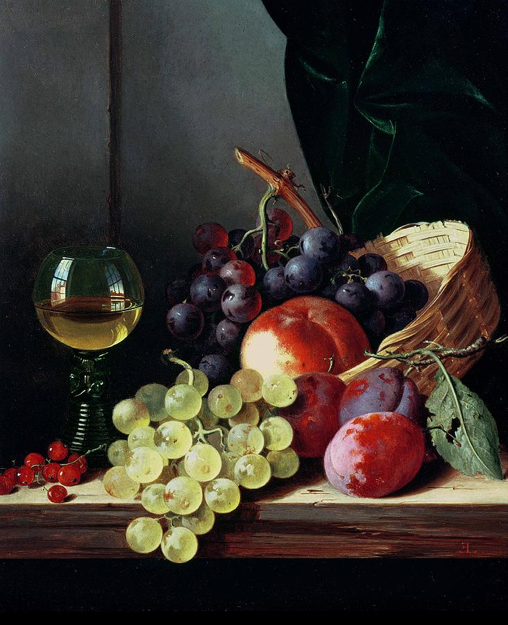 Grapes Painting - Grapes And Plums by Edward Ladell