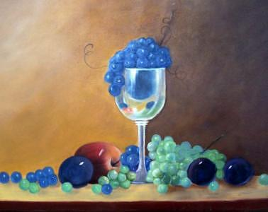 Apple Painting - Grapes And Plums by Susan Dehlinger