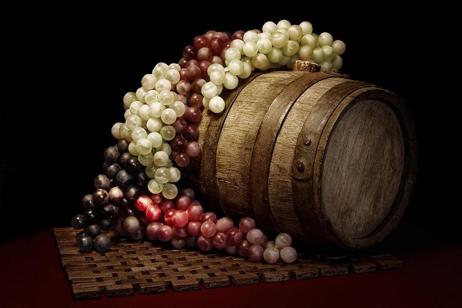 Barrel Photograph - Grapes And Wine Barrel by Tom Mc Nemar