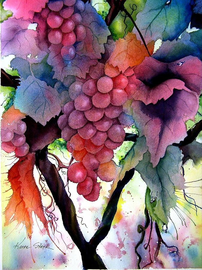 Grape Painting - Grapes III by Karen Stark