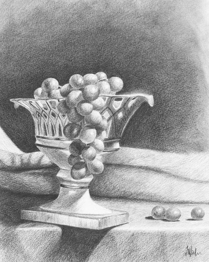 Pencil Rendering Drawing - Grapes by Joe Winkler