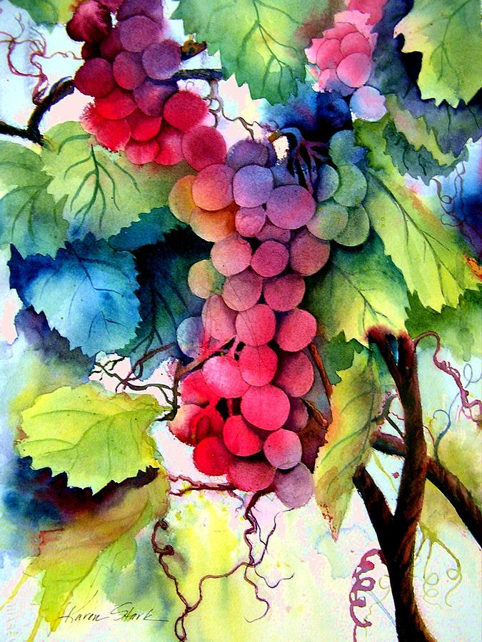 Grapes Painting - Grapes by Karen Stark