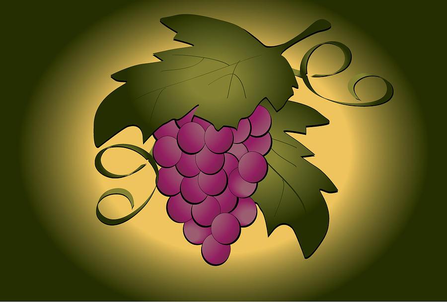 Vines Digital Art - Grapes by Pam Beal