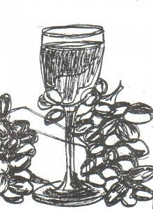 Atc Drawing - Grapes Wine Cheese by Cathey Bayless
