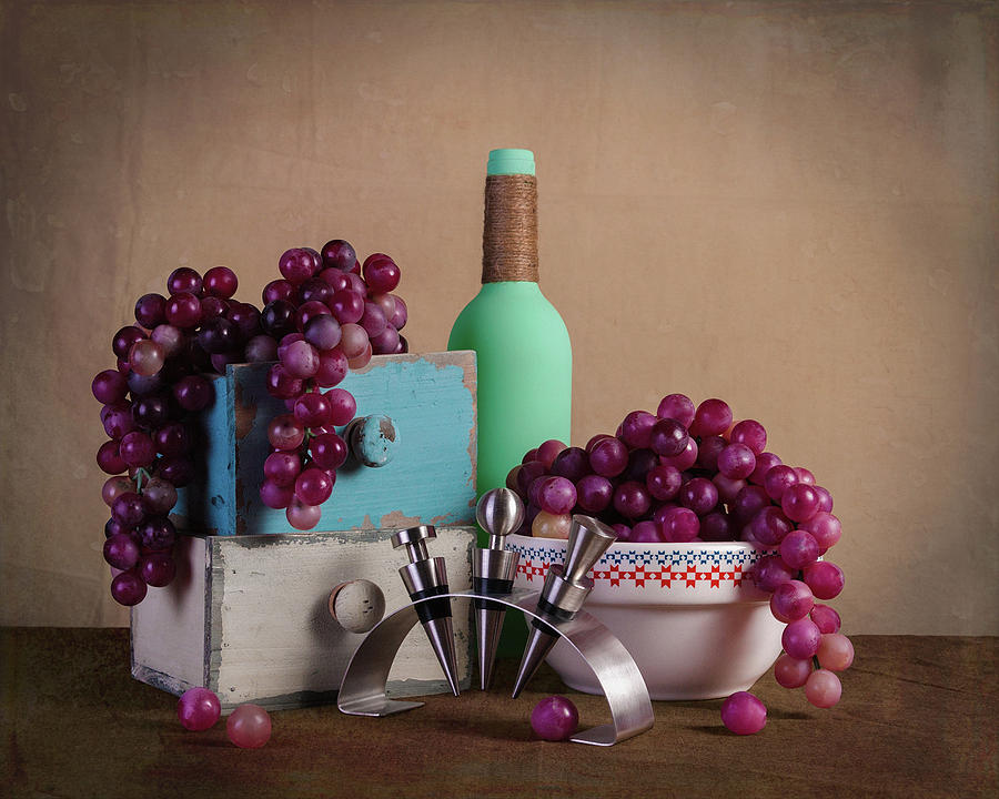 Alcohol Photograph - Grapes With Wine Stoppers by Tom Mc Nemar