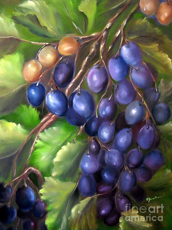 Grapes Painting - Grapevine by Carol Sweetwood