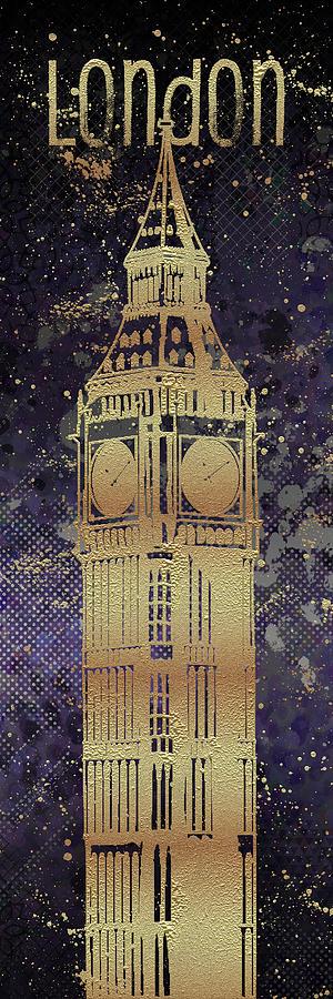 London Digital Art - Graphic Art London Big Ben - Ultraviolet And Golden by Melanie Viola