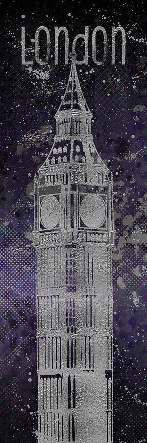 London Digital Art - Graphic Art London Big Ben - Ultraviolet And Silver by Melanie Viola