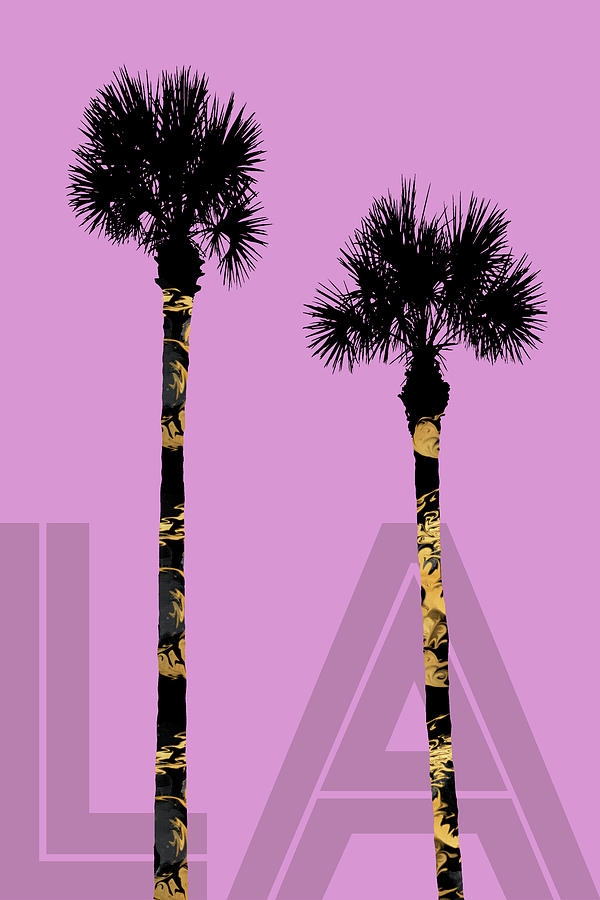 Abstract Digital Art - Graphic Art Palm Trees La - Pink by Melanie Viola
