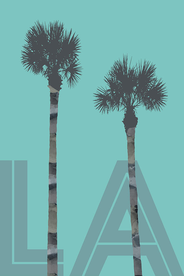 96cb0822e56e2 Abstract Digital Art - Graphic Art Palm Trees La - Turquoise by Melanie  Viola