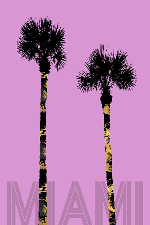 321d2a63a8605 Abstract Digital Art - Graphic Art Palm Trees Miami - Pink by Melanie Viola