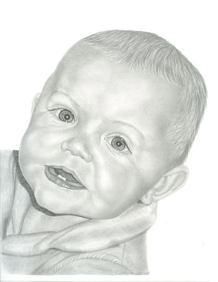 Portrait Drawing - Graphite Commission Portrait Of Baby by Tracey Costescu