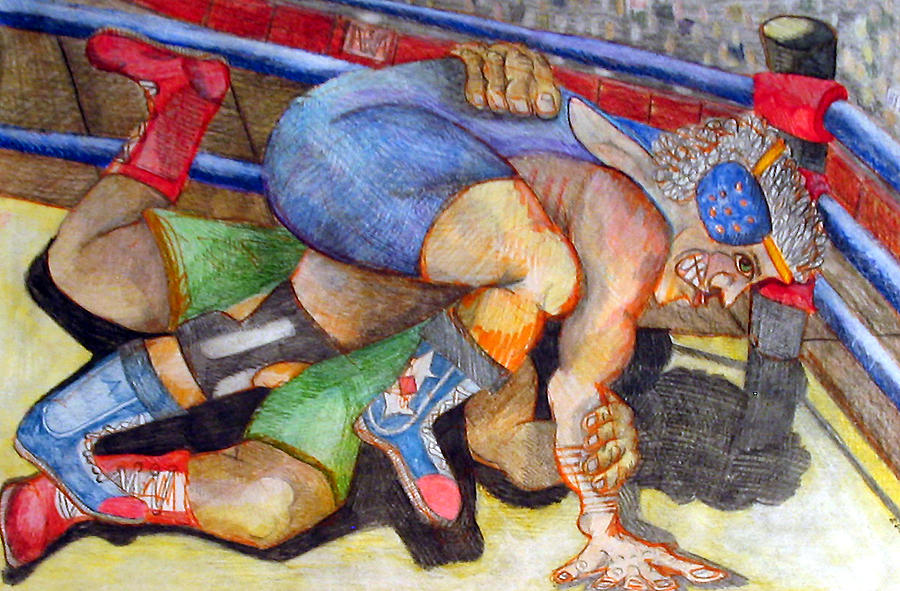 Wrestling Drawing - Grapple by Jame Hayes