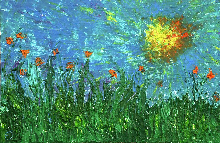 Grassland Painting - Grassland With Orange Flowers by Erik Tanghe