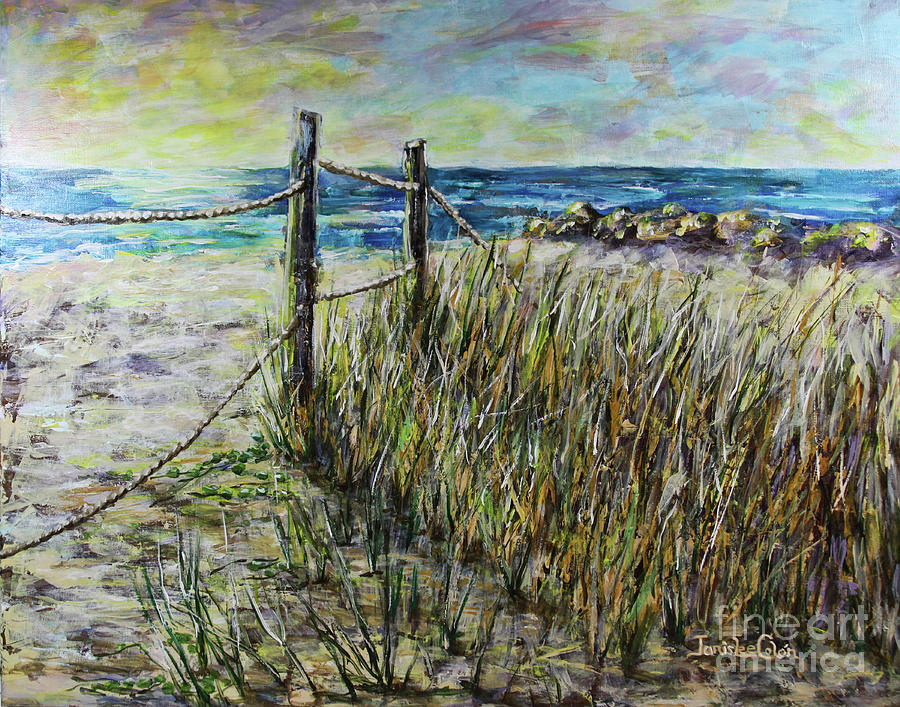 Grass Painting - Grassy Beach Post Morning 1 by Janis Lee Colon