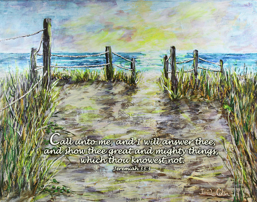 Beach Digital Art - Grassy Beach Post Morning 2 Jeremiah 33 by Janis Lee Colon