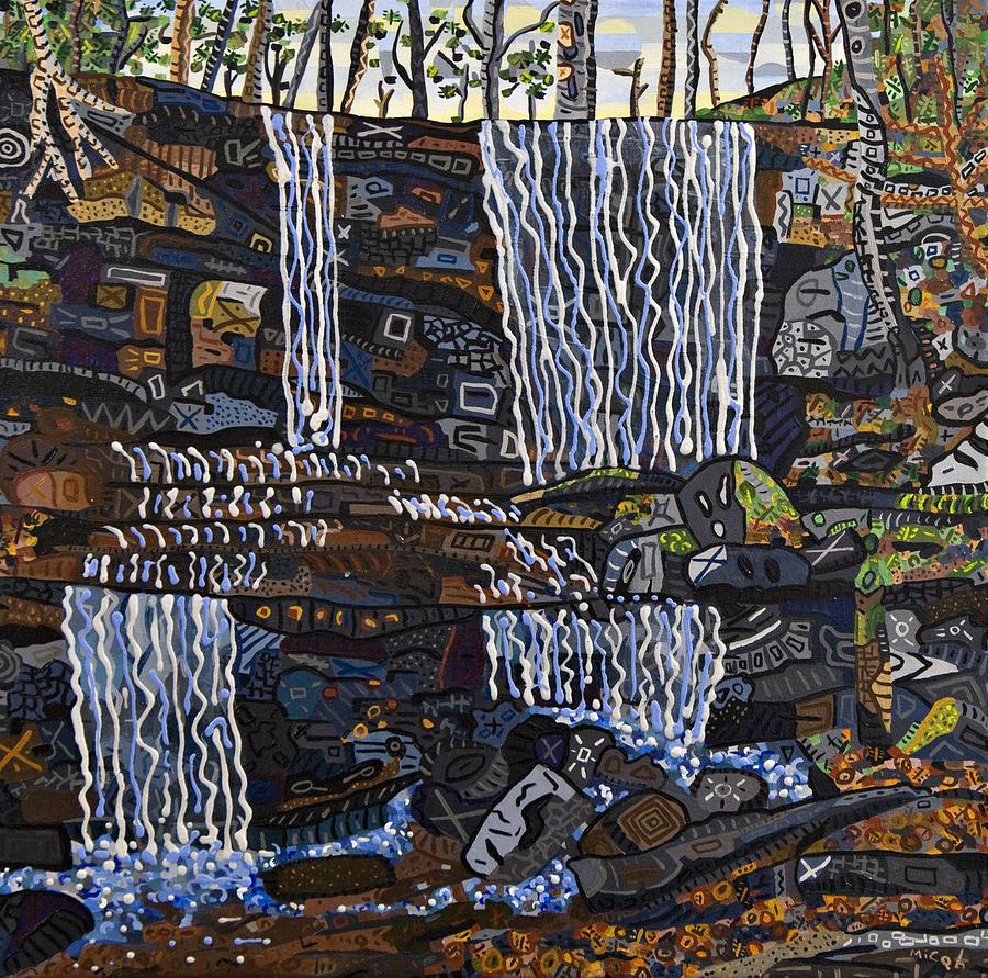 Grassy Creek Falls Waterfall Western North Carolina Little Switzerland Abstract Acryli Landscape Painting - Grassy Creek Falls by Micah Mullen