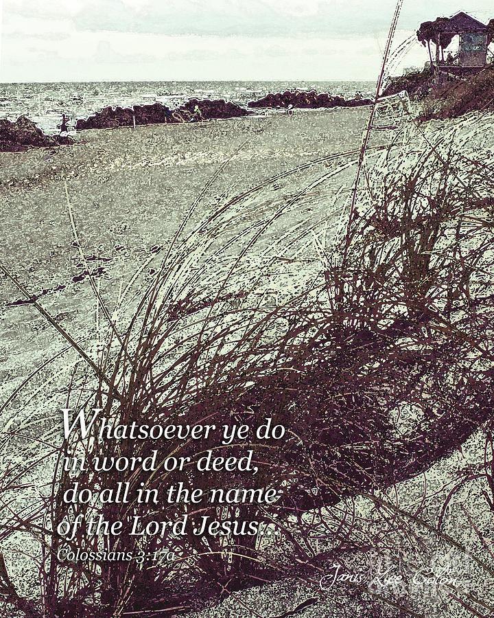 Beach Digital Art - Grassy Dunes Colossians 3 by Janis Lee Colon
