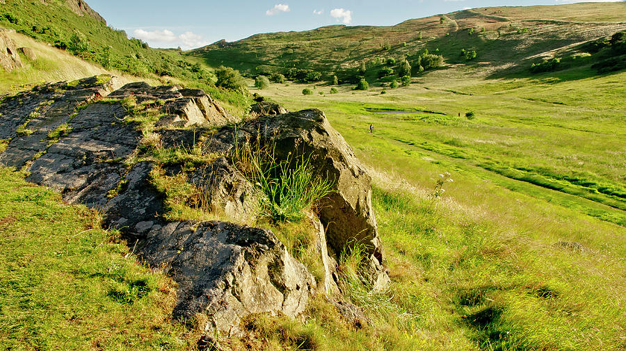 Grass Photograph - Grassy Slopes And Grass On Rocks. by Elena Perelman