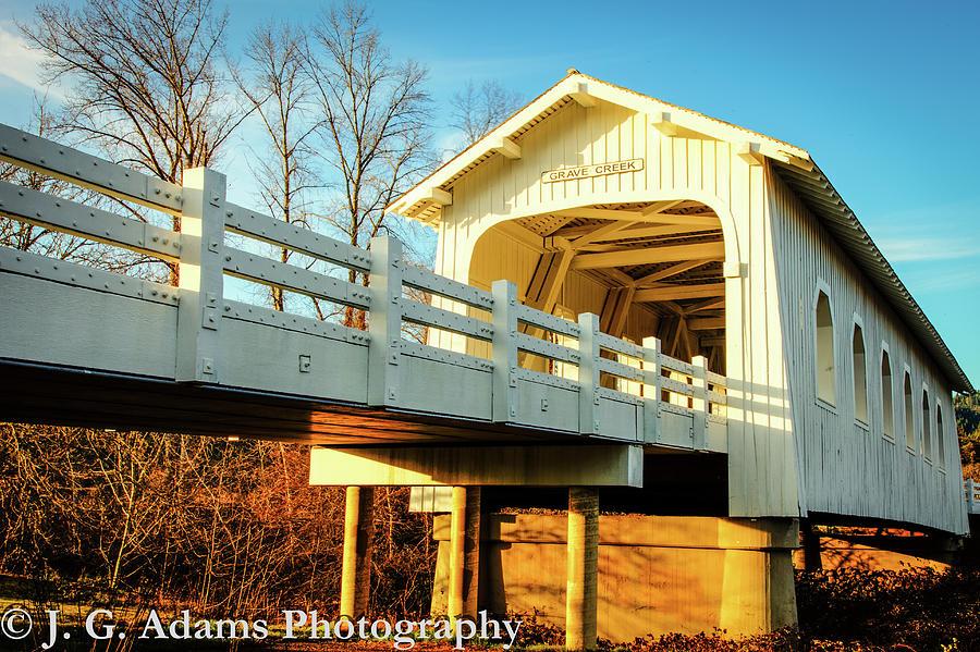 Oregon Photograph - Grave Creek Covered Bridge by Jim Adams