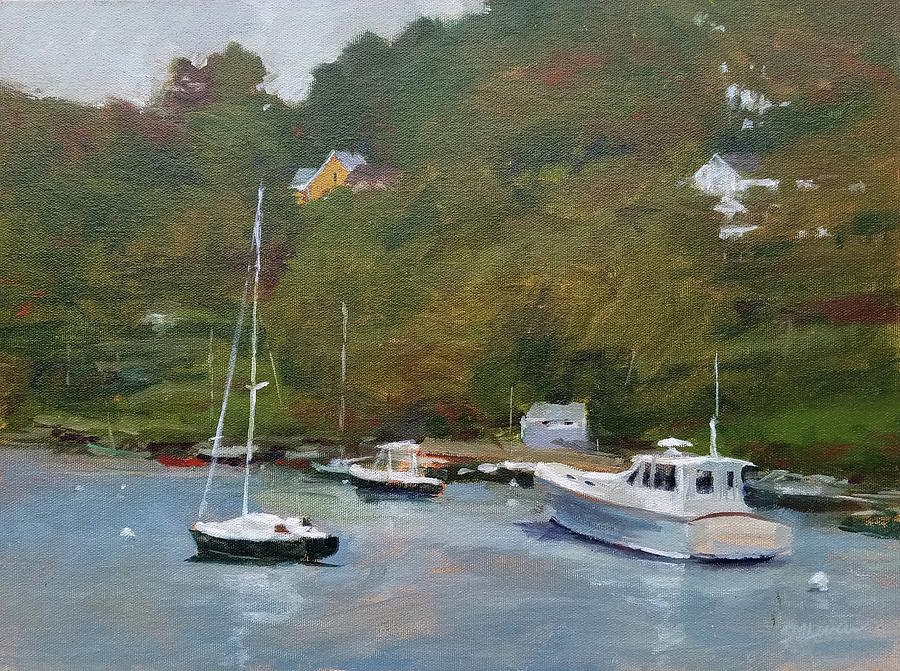 Maine Painting - Gray Afternoon At Rockport Harbor by Peter Salwen