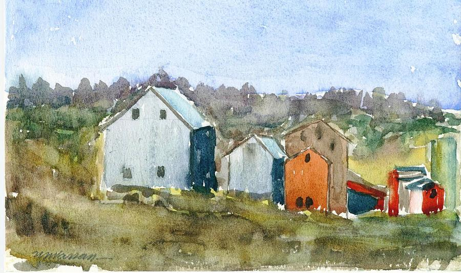 Landscape Painting - Gray And Red Barns by Ujjagar Singh Wassan