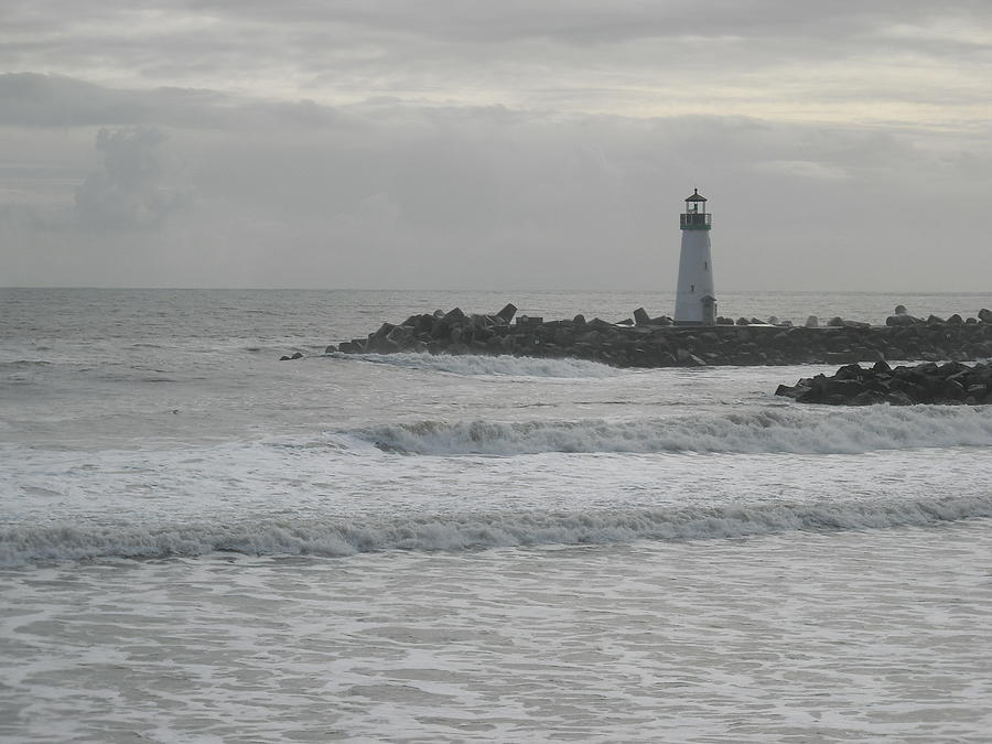 Ocean Photograph - Gray Day Lighthouse by Sharon McKeegan