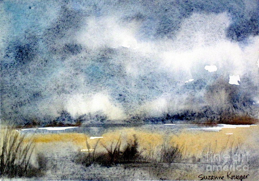 Landscape Painting - Gray Day by Suzanne Krueger