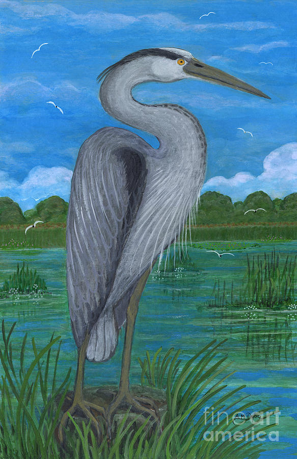 Paintings Painting - Gray Heron by Anna Folkartanna Maciejewska-Dyba