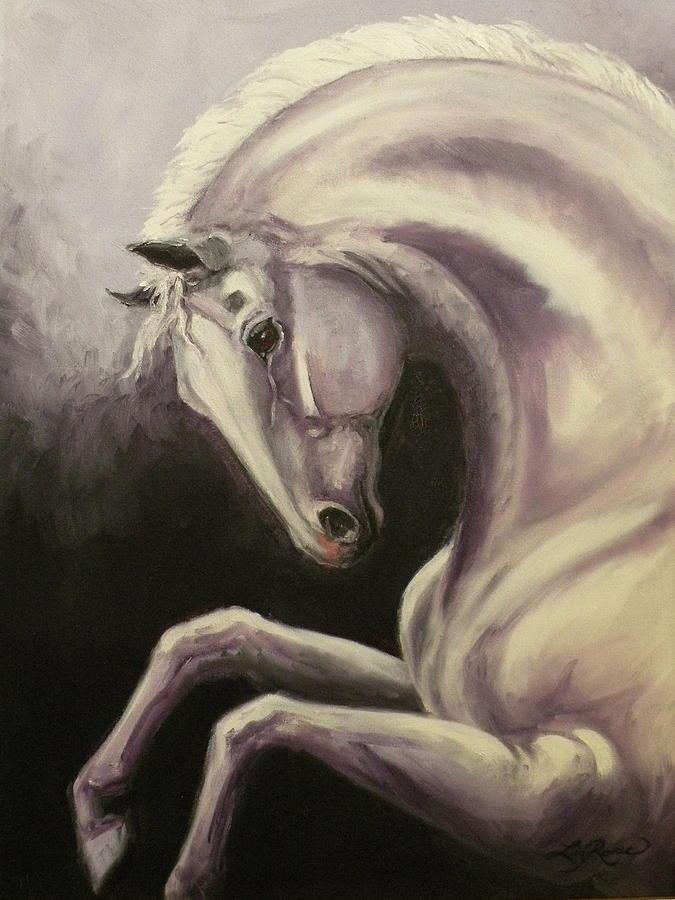 Horses Painting - Gray Horse Fantasy by Liz Rose