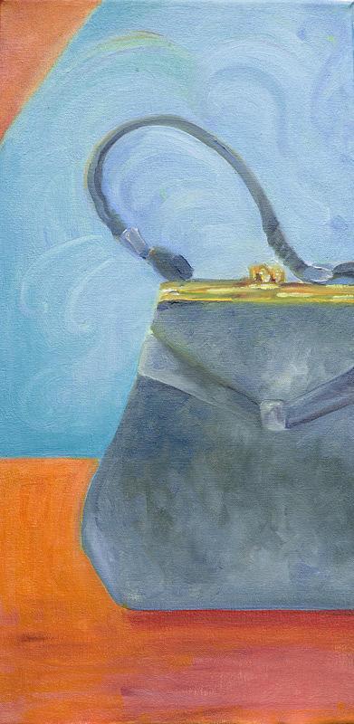 Pocketbook Painting - Gray Pocketbook by Laura McMillan