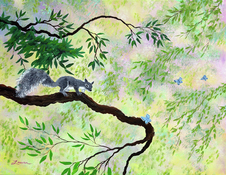 Gray Squirrel and Blue Butterfly by Laura Iverson