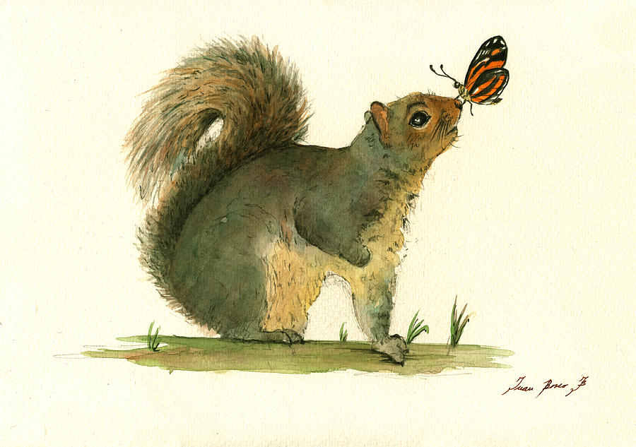 Gray Squirrel Butterfly Painting By Juan Bosco