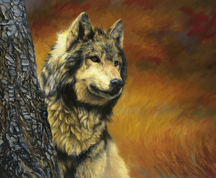 Wolf Painting - Gray Wolf by Lucie Bilodeau
