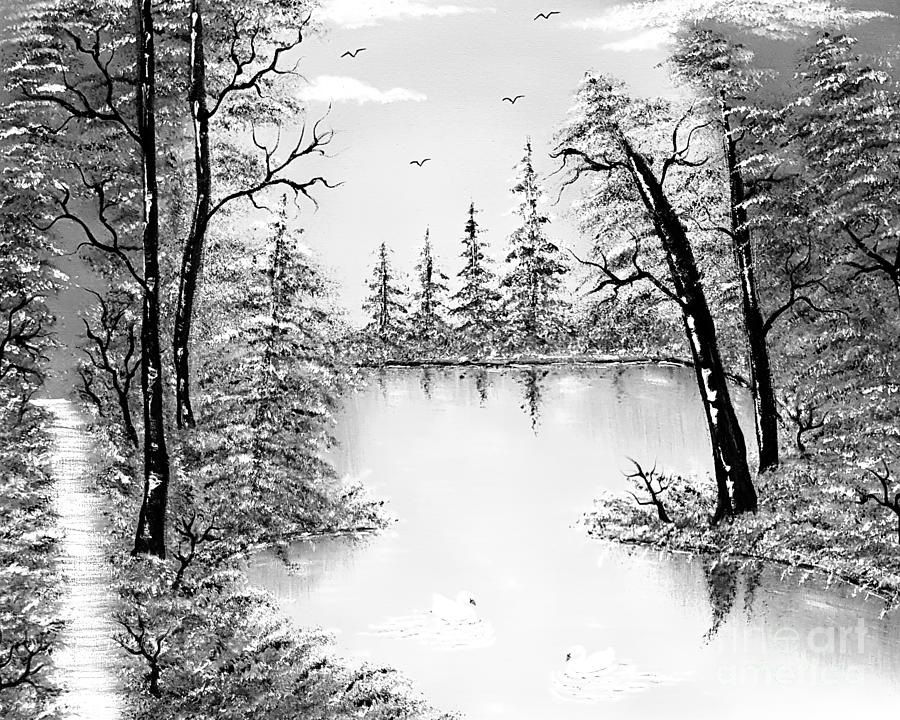 Grayscale Painting - Grayscale Beauty All Around Us  by Angela Whitehouse