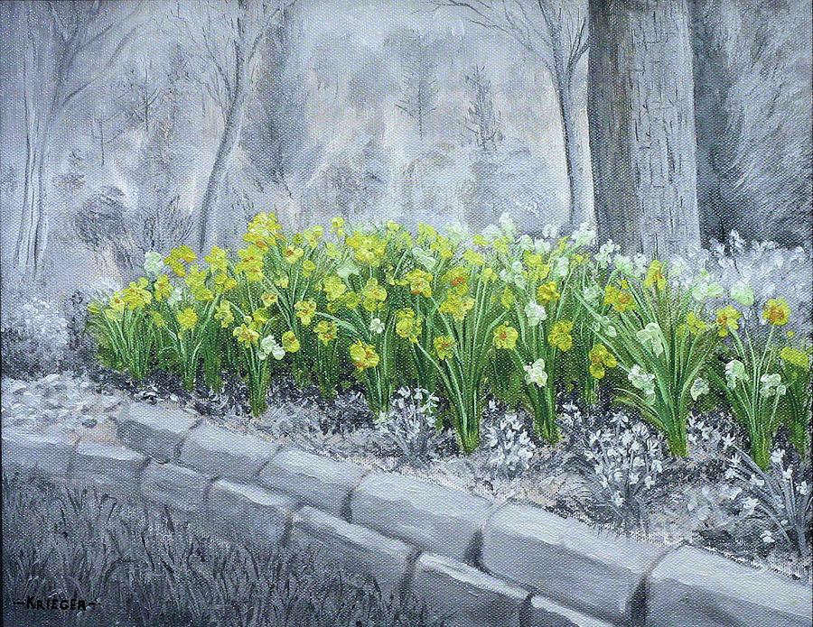 Daffodils Painting - Grayscale Daffodils by Stephen Krieger