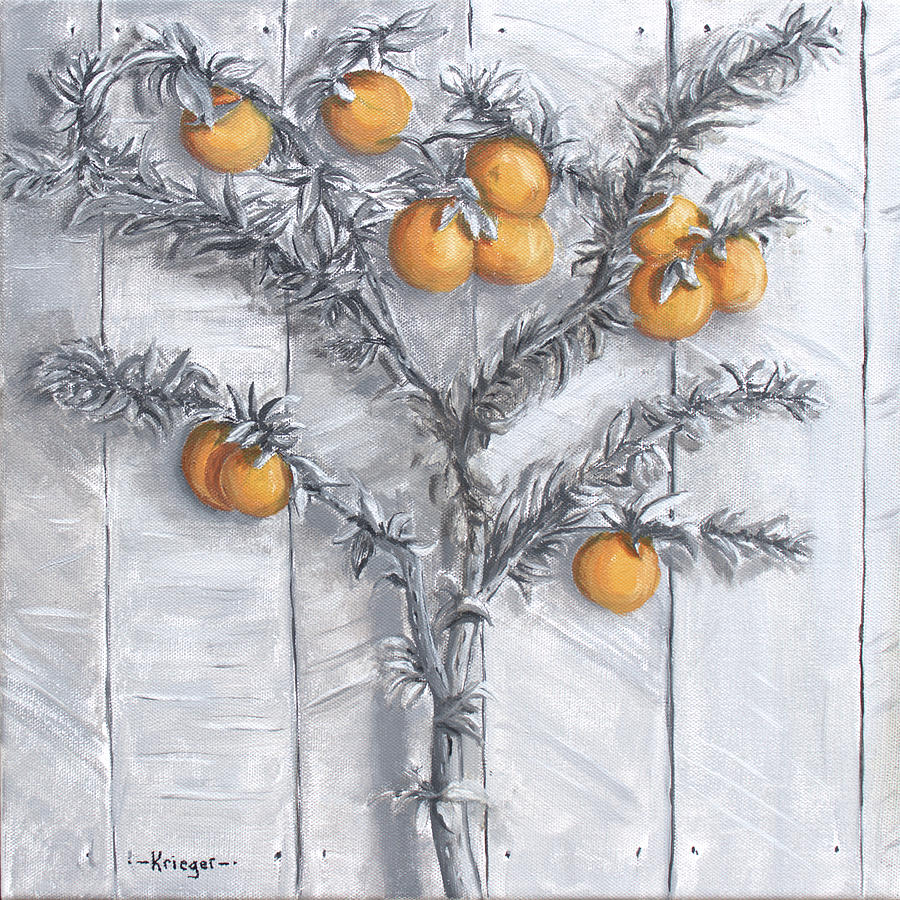 Oranges Painting - Grayscale Oranges by Stephen Krieger