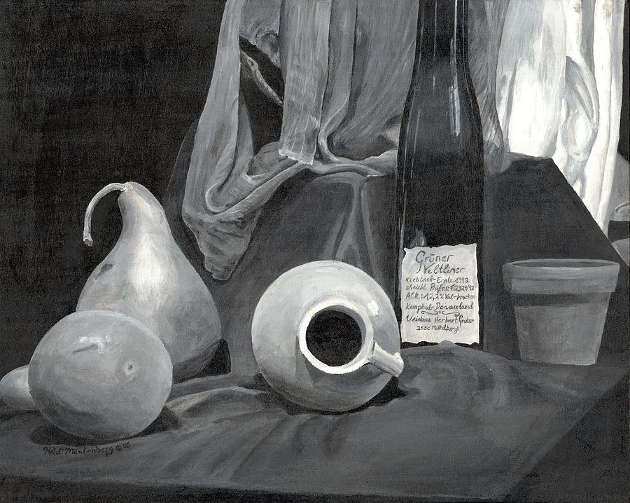 Gourds Painting - Grayscale Still Life by Heidi Meulenberg