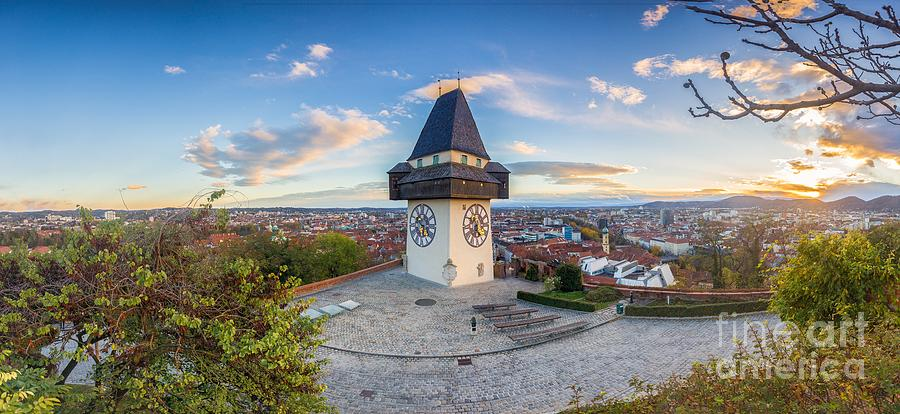 Aerial Photograph - Graz Sunset Panorama by JR Photography
