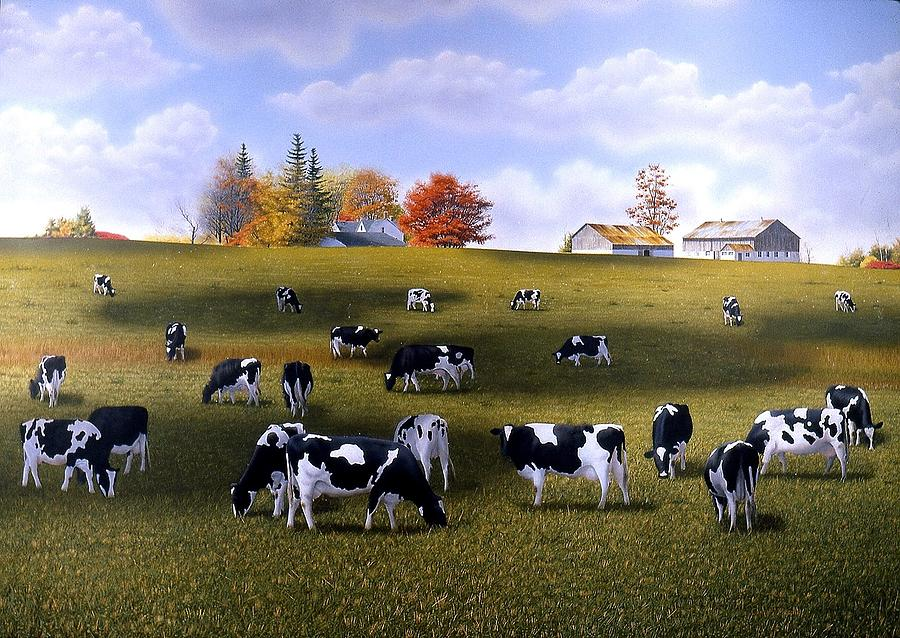 Landscape Painting - Grazing Holsteins by Conrad Mieschke