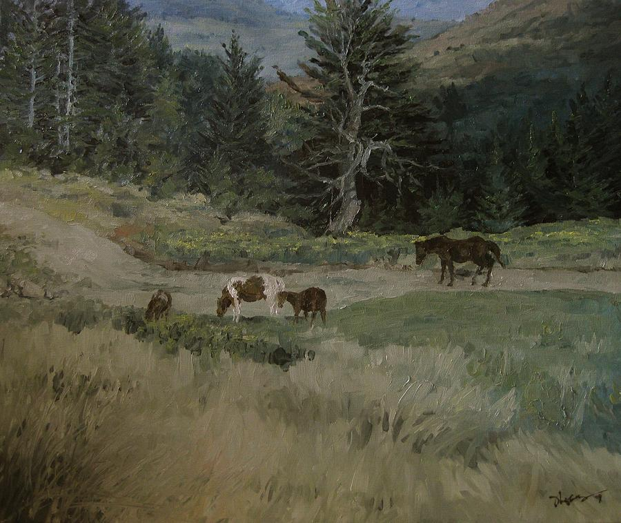 Landscape Painting - Grazing by Richard Ong