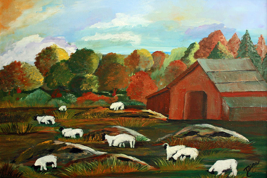 Painting Painting - Grazing Sheep by Dina Jacobs